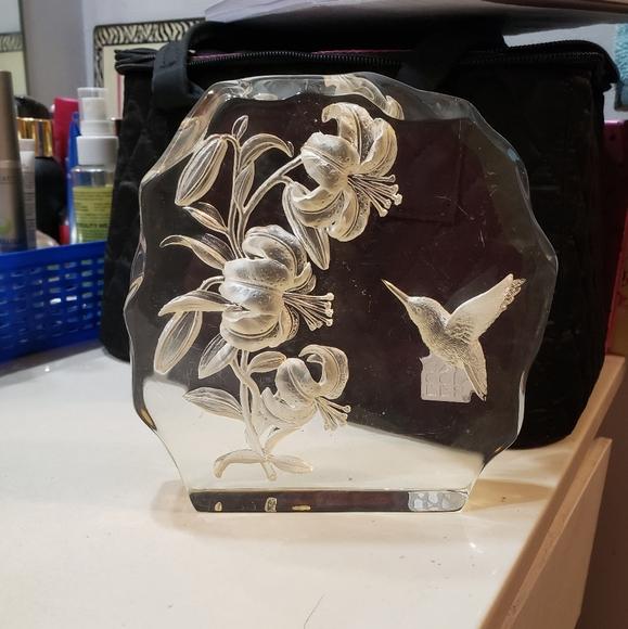 Etched Glass Hummingbird Sculpture
